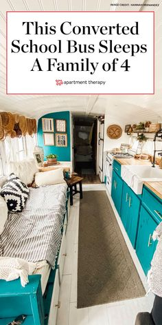 This 187-square-feet converted school bus amazingly fits a family of four. | Tiny Tours by Apartment Therapy #smallspaces #tinyhouse #tinytour #rv #convertedschoolbus #mobilehome #smallspaceideas #smallspacedecor #tinyhouseonwheels Design Your Home, House Design, School Bus House, Converted School Bus, Woman Cave, Remodeled Campers, Farmhouse Style Kitchen, Tiny House On Wheels, Decorating Small Spaces