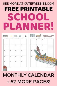 Monthly Calendar For School Planner Bullet Journal! Free printable student planner with monthly calendar, weekly planner, bullet journal printables for school. Teacher Planner Free, Kids Planner, Student Planner Printable, School Planner, Study Planner, Calendar Printable, Weekly Planner, Planner Diy, Teacher Binder