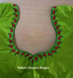 Login - Bridal Blouse Designs done at Vidhya's Comfort Designs, Besant Nagar, Chennai Contact – 9003020 - Chudithar Neck Designs, Blouse Designs High Neck, Simple Blouse Designs, Neckline Designs, Blouse Designs Silk, Designer Blouse Patterns, Hand Designs, Blouse Simple, Simple Designs