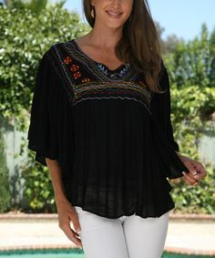 Look at this #zulilyfind! Black Embroidered Peasant Tunic by Ananda's Collection #zulilyfinds