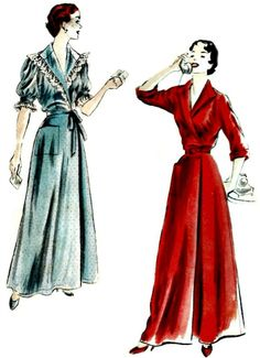 Vogue 7084  This is a 1950s vintage pattern for a housecoat, brunchcoat, or day dress. Skirt joins the bodice top at the waistline. Band collar and single patch pocket. Double-breasted closing above and below the belt. Below elbow length sleeves, turned-back cuffs, cut off for short sleeves, and short full sleeves gathered to a straight band.  Circa 1950  Bust 32  Pattern uncut and factory-folded with instructions. Envelope in excellent condition.  Love this pattern, but its not your size?…