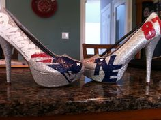Boston Sports Teams NFL New England Patriots Custom Hand-Painted Silver Glitter High Heel Women's Shoes, $107 via 'chrystenfahey' on Etsy ... (cc: @soxygeologist)