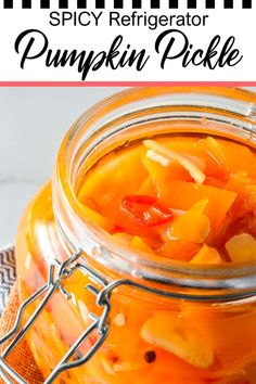 This spicy pumpkin refrigerator pickle comes together in just under 30 minutes to delight your tastebuds with its tangy spicy quick pickled pumpkin goodness! One of the easiest pumpkin recipes you'll ever make this fall, gluten-free savory spicy goodness you won't believe is made with fresh pumpkin, is low-calorie and contains NO oil. Have it today and customize to your tastes, with ginger as a great side to coconut rice and Asian dishes, or without to pair with creamy cheeses. Vegetarian Side Dishes, Vegetarian Appetizers, Vegan Main Dishes, Vegetarian Recipes, Refrigerator Pickle Recipes, Vegan Pumpkin Bread, Eating Vegetables, Coconut Rice, Pumpkin Recipes