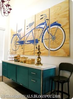 Fun entryway with a custom painting on plywood.