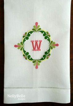 Spring colors on white cotton/linen towel. Monogram Design, Monogram Styles, Monogram Fonts, Monogram Letters, Embroidery Monogram, Machine Embroidery Applique, Embroidery Designs, Creative Embroidery, Linen Towels