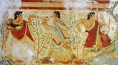 Tomba dei leopardi - 473 a.C. - affresco - necropoli etrusca dei Monterozzi, Tarquinia.