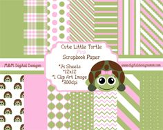 Cute Little Pink Hair Bow Turtle Scrapbook Kit INSTANT DOWNLOAD