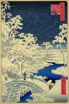 Ando Hiroshige - Yuhi Hill and the Drum Bridge at Meguro