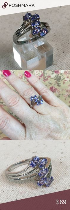 Tanzanite 5 Stone Bypass Ring Gorgeous Tanzanite five stone bypass ring set in platinum over sterling silver. New. Size 8. Includes gift box. 🎁 BQR135 Jewelry Rings
