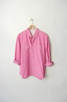 Steven Alan Men's Cranberry Pink Red Chambray Oxford Button Down Shirt