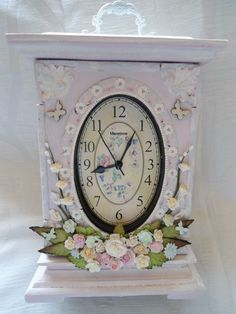 An altered clock.(Edith's creative pieces and bits) Rose Clock, Altered Boxes, Clocks, Cactus, Objects, Creative, Design, Home Decor, Shelving Brackets