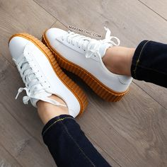 Gum Sole Flatform Creeper Sneakers WHITE