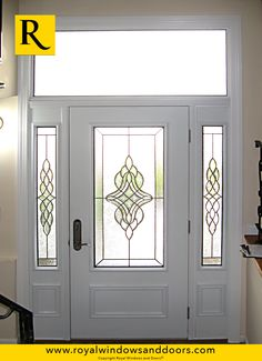 Single Entry Door, Two Side Lites, Transom, White Finish, Designer Glass Entry Doors With Glass, Windows And Doors, Rustic, Contemporary, Furniture, Design, Home Decor, Country Primitive, Decoration Home
