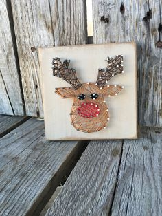 Ready To Ship String Art Rudolph Reindeer wood by jodyaleavitt would be cute as an ornament Christmas Signs Wood, Noel Christmas, Christmas Decorations, Xmas, Nail String Art, Craft Night, Reno, Art Plastique, Pebble Art