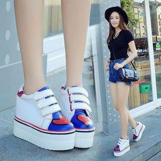 Korean Women's Sneaker Flats Heels Platform Casual Canvas Sneakers Shoes