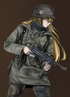 Cool Anime Girl, Anime Art Girl, Manga Girl, Anime Military, Military Women, Ww Girl, Guerra Anime, Gunslinger Girl, Zombie Army
