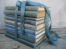 stack of old blue books