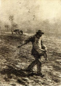 The Sower - Léon Augustin Lhermitte - Date unknown Dimensions: Height: 40 cm in.), Width: 29 cm in.) Medium: Drawing - charcoal on paper Vincent Van Gogh, Van Gogh Drawings, Van Gogh Paintings, Van Gogh Art, Art Van, Statues, Impressionist Artists, Chef D Oeuvre, Dutch Painters