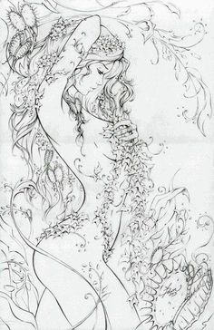 Poison Ivy (McTeigue), in Nicki Andrews's Inking work Comic Art Gallery Room Fantasy Kunst, Fantasy Art, Coloring Book Pages, Colorful Pictures, Line Art, Art Drawings, Graphics, Abstract, Artwork