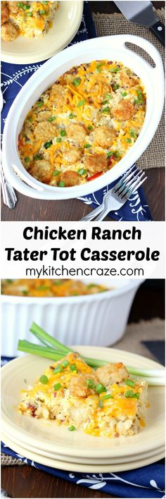 Chicken Ranch Tater Tot Casserole ~ mykitchencraze.com ~ Enjoy this easy no fuss casserole on those busy hectic nights. Creamy and loaded with tater tots. What could be better?