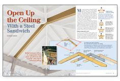 Bolted between rafters, an angled steel flitch plate can eliminate the need for rafter ties in cathedral ceilings