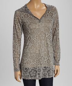 Another great find on #zulily! Charcoal Lotus Burnout Hoodie - Women & Plus #zulilyfinds