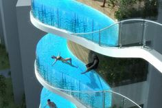 Balcony pools at The Parinee Ism, a residential tower in India