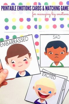 Managing Big Emotions: Printable Emotions Cards and Matching Game. Great for use with children of all ages at home or school. Emotions Game, Emotions Preschool, Teaching Emotions, Emotions Cards, Emotions Activities, Feelings And Emotions, Preschool Activities, Activities For Autistic Children, Feelings Chart