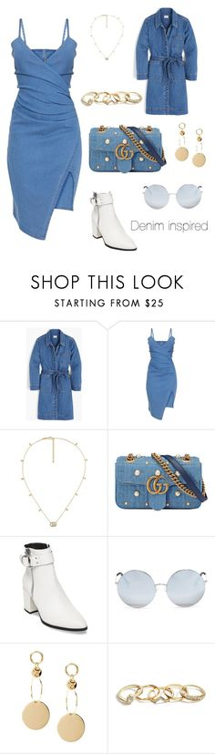 """""""Denim // Denim"""" by emilieeshansen ❤ liked on Polyvore featuring J.Crew, Gucci, Steve Madden, Matthew Williamson and GUESS"""