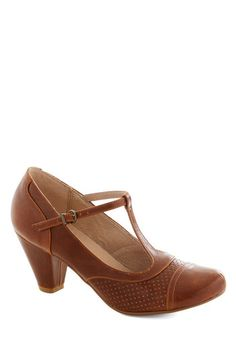 Just Like Honey Heel in Chocolate by Chelsea Crew - Brown, Solid, Vintage Inspired, 20s, 30s, Mid, Party, Work, Faux Leather, Variation, Bet...