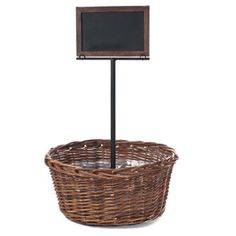 Check out this item at One Kings Lane! Willow Basket w/ Standing Sign
