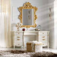 Delightful Ivory and Gold Leaf Dressing Table And Mirror Set