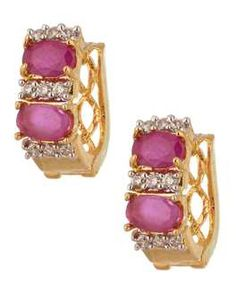 Earrings: Exotic Oval Design Gold Plated Earrings Studded With CZ And Pink Color Stones