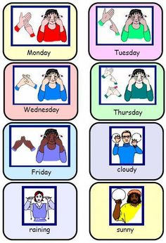 Sign Language Weather Chart – Signs for 5 schooldays and 9 types of weather. by … Sign Language Weather Chart – Signs for 5 schooldays and 9 types of weather. by tanisha Simple Sign Language, Sign Language Chart, Sign Language For Kids, Sign Language Phrases, Sign Language Interpreter, Sign Language Alphabet, British Sign Language, Learn Sign Language, Speech And Language