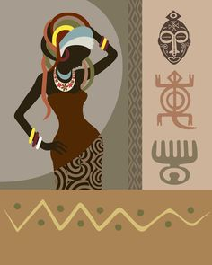 Femme Art africaine Adinkra symboles africains tirage par iQstudio