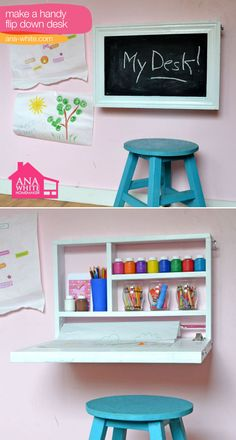 Make a handy flip down desk #diy