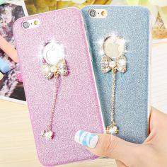 Kisscase đáng yêu 3d glitter kim cương rhinestone bướm silicone trường hợp đối với iphone 6 6 s 6 Cộng Với 6 s Cộng Với Trường Hợp TPU Bling Cover Quay Lại
