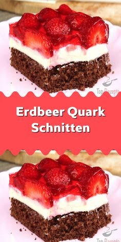 Strawberry curd cheese slices-Erdbeer Quark Schnitten The strawberry season is in full swing. Graduation Desserts, Cheesecake, Biscuits And Gravy, Strawberry Desserts, Fun Desserts, Plated Desserts, Dessert Table, Baking Recipes, Nutella