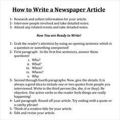 Newspaper Article Format Spm