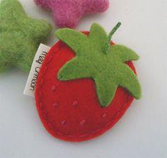 Felt hair clip No slip Wool felt British strawberry by MayCrimson