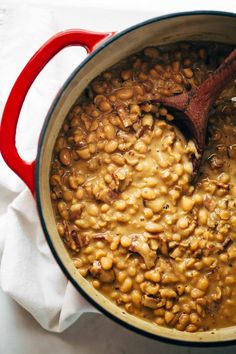 Homemade Brown Sugar Baked Beans recipe - made with just five easy, real food ingredients! Perfect side dish for summer grill outs, picnics, and potlucks. | pinchofyum.com