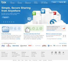 The website 'http://www.box.com/' Almacenamiento en la nube