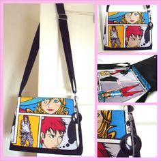 HANDMADE, UPCYCLED, Manga, Anime, Comic book retro Cross body messenger / Shoulder Bag / Handbag / Purse - £25.00