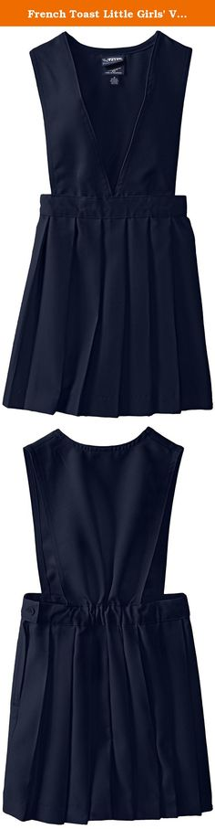 French Toast Little Girls' V-neck Pleated Jumper, Navy, 6X. Girl's V-neck jumper with permanent pleats, side zipper, and button closure.