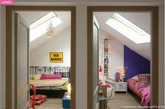 Attic room in attic rooms - Attic Ideas Bungalow Renovation, Attic Renovation, Attic Remodel, Small Attic Room, Attic Rooms, Attic Conversion, Loft Room, Home Upgrades, Modern Room