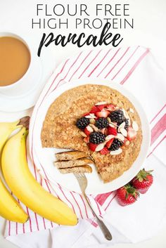 This Gluten Free High Protein Pancake is my all-time favorite weekday breakfast: quick easy filling delicious and flour-free! Banana Protein Pancakes, Keto Pancakes, German Pancakes, Banana Bread, Gluten Free Recipes For Breakfast, Gluten Free Breakfasts, Brunch Recipes, Healthy Breakfasts, Healthy Recipes