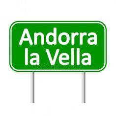 Andorra la Vella road sign. Vector De Stock