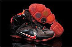 f670b6deda13 Lebron 12 For Kids Black Fire Red White Nike Outlet
