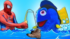 Finding Dory w/ Spiderman - Spiderman is Fishing will he catch Finding D...