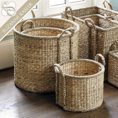 Suzanne Kasler Set of 3 Round Market Baskets - for Kitchen/Upstairs FR/Informal eating area.*